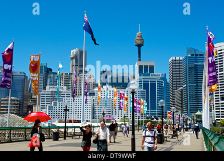 Pyrmont Bridge in the CBD Sydney Australia - Stock Image
