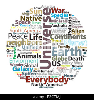 Word cloud expressing ideas and concepts releating to the Earth - Stock Image