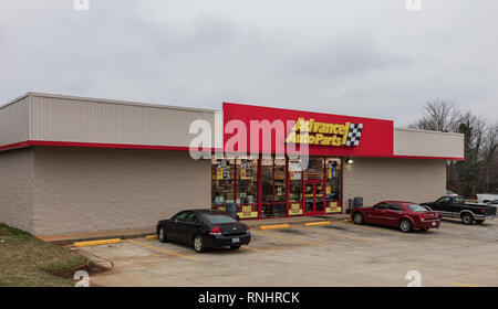 HICKORY, NC, USA-2/17/19: An Advance AutoParts store, retail supplier of aftermarket autoparts and accessories, one of about 5000 stores worldwide. - Stock Image