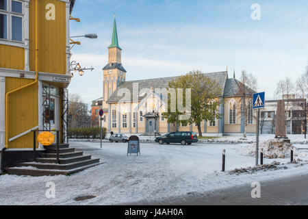 Tromsø Cathedral (1861), in the Gothic Revival style, is the only wooden cathedral in Norway. - Stock Image