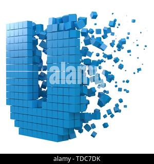 letter U shaped data block. version with blue cubes. 3d pixel style vector illustration. suitable for blockchain, technology, computer and abstract th - Stock Image
