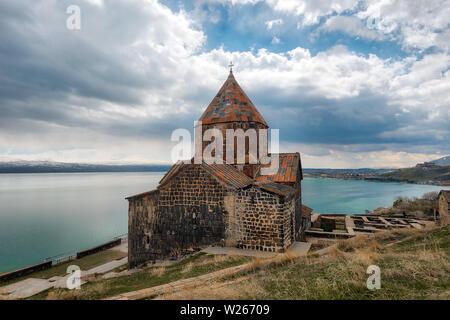 Sevanavank Monastry at Lake Savan in Armenia, taken in April 2019rn' taken in hdr - Stock Image