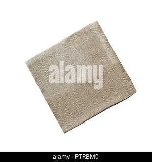 Square linen napkin isolated over a white background with clipping path included. Image shot from overhead. - Stock Image