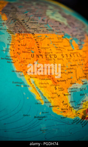 Globe showing the United States of America - Stock Image