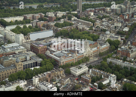 Aerial view of the Victoria and Albert Museum on Cromwell Gardens in South Kensington in London. It is often called the V&A - Stock Image