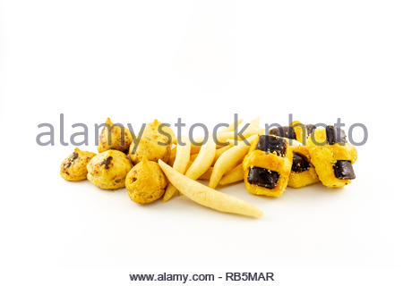 tasty food for snack with chocolate and cheese flavor isolated white background - Stock Image