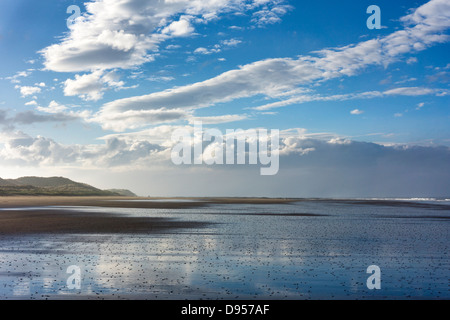 Evening light in May. Bamburgh beach near Seahouses, Northumberland - Stock Image