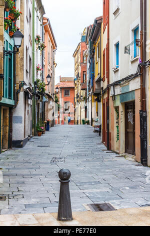 Gijon, Spain - 6th July 2018: Street in the old fishermans quarter, tha area is known as Cimadevilla - Stock Image