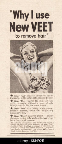 1939 UK Magazine Veet Hair Removal Advert - Stock Image