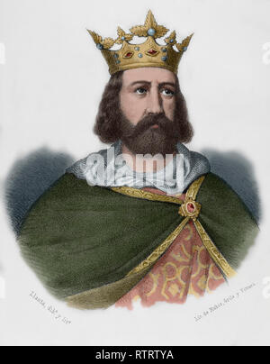 Alfons II the Chaste (1157-1196). King of Aragon and Count of Barcelona. Lithography. Later colouration. Crónica General de España, Historia Ilustrada y Descriptiva de sus Provincias. Catalonia. 1866. - Stock Image