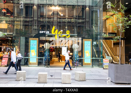 Yes Optus telecommunications and broadband store in George street Sydney,Australia - Stock Image