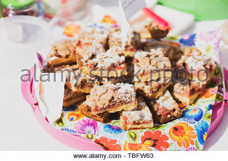 Fresh rhubarb pie portions served on a plate in - Stock Image