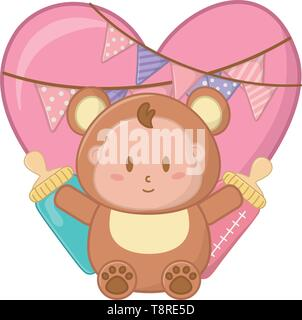 bear costume with heart and feeding bottle with pendants vector illustration graphic design - Stock Image