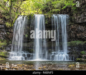 Sgwd yr eira waterfall in the Brecon Beacons South Wales England UK - Stock Image
