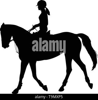 high quality silhouette of young female riding elegant horse - vector - Stock Image