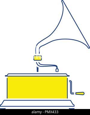 Gramophone icon. Thin line design. Vector illustration. - Stock Image