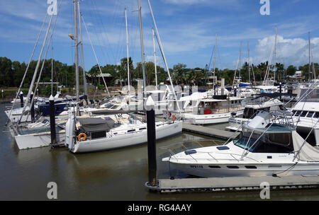 Many boats in Bluewater Marina, Trinity Park, Cairns, Queensland, Australia. No PR - Stock Image