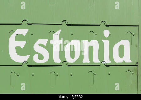 Estonia color, view of the armor plated surface of the 'Estonia' armored car (1918), part of a monument to the Estonian War of Independence in Tallinn. - Stock Image