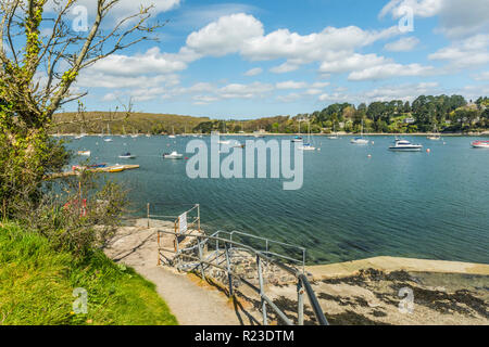 The ferry landing overlooking Helford Passage near the village of Helford, Cornwall, England - Stock Image