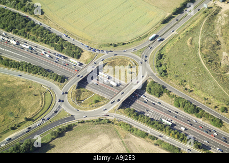 Aerial view of of traffic congestion at a Motorway Junction - Stock Image
