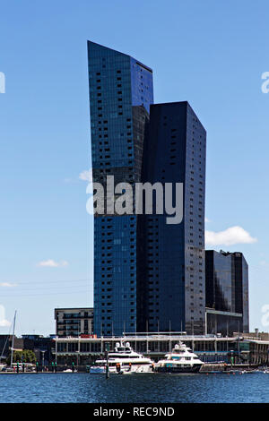 Modern Residential Apartments in Melbourne Docklands,Victoria Australia. The Marina Towers are two conjoined towers,one being 43 storeys and the other - Stock Image