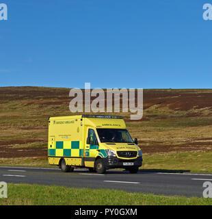 North West Ambulance Service, NHS Trust, Emergency Ambulance. M6 Motorway Southbound carriageway, Shap, Cumbria, England, United Kingdom, Europe. - Stock Image