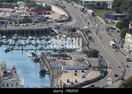 Dover, Kent, UK - September  30 2018: General view of the coastal town of Dover. Dover in Kent is a major port for ferries to Calais, France. Credit: David Mbiyu - Stock Image