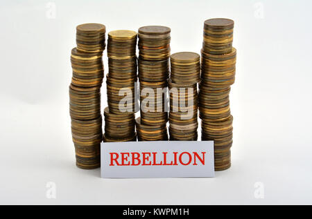 Word rebellion with coins isolated on white background - Stock Image