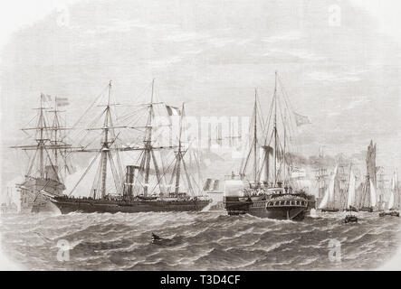 The International Naval Festival at Portsmouth, England, 1865. The meeting of the French Imperial yacht Reine Hortense and the paddle-steamer royal yacht Osborne.  From The Illustrated London News, published 1865. - Stock Image