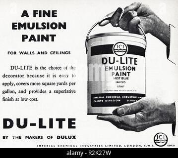 Original 1950s vintage old print advertisement from English magazine advertising ICI Du-Lite Emulsion paint circa 1954 - Stock Image