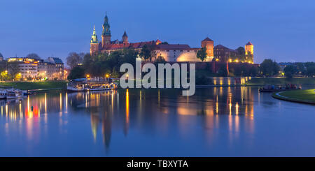 Night Wawel castle, Krakow, Poland - Stock Image