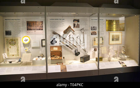Displays about politics, law, and churches in Chelmsford, inside Chelmsford Museum, Chelmsford, Essex, UK - Stock Image