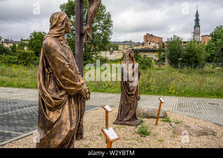 Parking lot where plastic statues of Christian figures are placed and offered for sale, Czestochowa, Poland 2018. - Stock Image