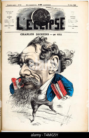 Caricature portrait of Charles Dickens (1812-1870), Cover of L'Eclipse magazine, 14 June 1868, Hand-colored Engraving by André Gill - Stock Image