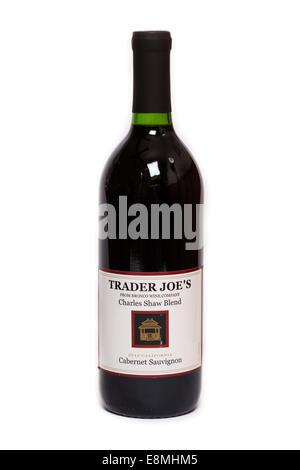 Trader Joe's Charles Shaw Blend 'Two Buck Chuck' Cabernet Sauvignon Wine - Stock Image