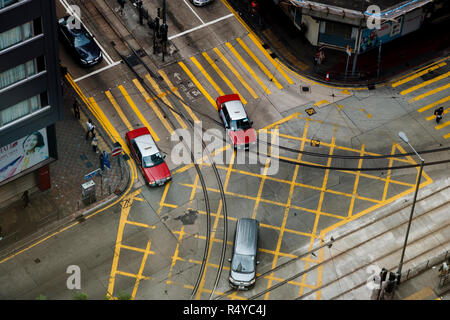 Street corner from above, on Hong Kong Island - Stock Image