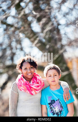 Portrait of mother with son - Stock Image