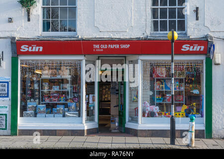 The Old Paper shop, a small local business, in the small town of Whitchurch in Hampshire, UK - Stock Image