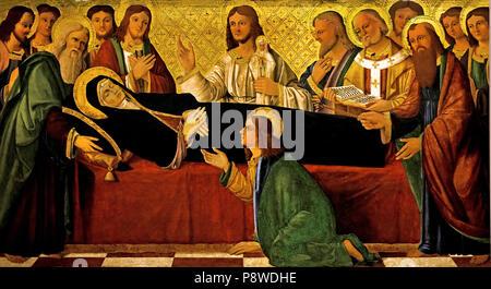 Morte della Vergine - Death of the Virgin by Venetian Painter XIV century Italy, Italian. - Stock Image
