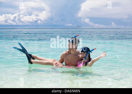 Friends snorkeling together. - Stock Image