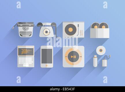 Media devices over the years vector - Stock Image