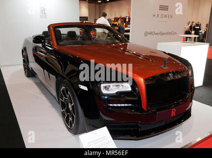 A Bespoke Rolls-Royce Black Badge Dawn Addamas, on display at the H.R. Owen Stand, of the 2018 London Motor Show, - Stock Image