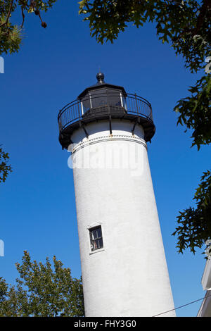 White lighthouse on Marther's Vineyard - Stock Image