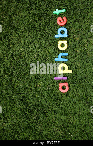 The word 'alphabet' spelled out in colourful plastic letters, on green grass, taken from a low angle - Stock Image