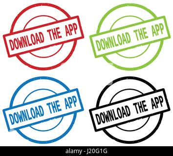 DOWNLOAD THE APP text, on round simple stamp sign, in color set. - Stock Image