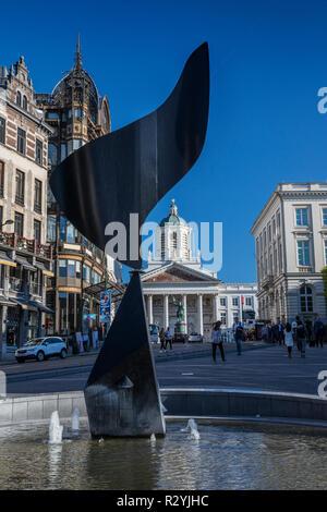 The Whirling Ear statue by Alexander Calder, Mont des Arts, Brussels, Belgium. - Stock Image