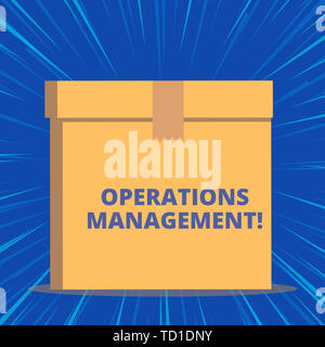 Writing note showing Operations Management. Business concept for ensure Inputs to Output the Production and Provision Close up front view brown cardbo - Stock Image