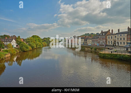The River Severn in Bewdley, Worcestershire on a summer afternoon is tranquil and calm with low water levels - Stock Image