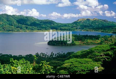 French Polynesia, Society Islands, Leeward Islands, Huahine Island (aka Mata'irea). Lush forests - Stock Image