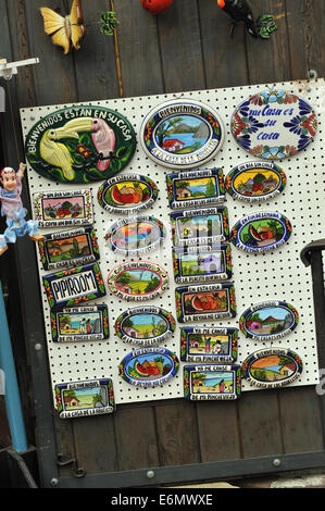 Hand made, painted wall plaques with Spanish writing and Mexican motifs. - Stock Image